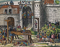 0295355 © Granger - Historical Picture ArchiveHISTORY.   Execution of the Amboise conspirators, March 25, 1560, engraving by Franz Hogenberg (1535-1590). Wars of Religion, France, 16th century. Full Credit: DEA / G. DAGLI ORTI / Granger, NYC -- All rights reserved.