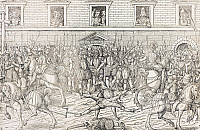 0295389 © Granger - Historical Picture ArchiveHISTORY.   Execution of Jean Poltrot, known as du Meray in Paris, March 18, 1563, engraving preserved in the Palace of Versailles. France, 16th century. Full Credit: DEA / G. DAGLI ORTI / Granger, NYC -- All rights reserved.
