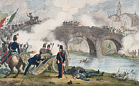 0295682 © Granger - Historical Picture ArchiveHISTORY.   Battle of Goito Bridge on Mincio River, April 8, 1848, engraving. First war of independence, Italy, 19th century. Full Credit: DEA / V. PIROZZI / Granger, NYC -- All rig