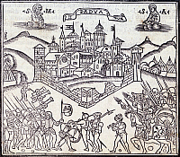 0295698 © Granger - Historical Picture ArchiveHISTORY.   Siege of Padua by Maximilian I of Habsburg, 1509, popular print. War of the Cambrai League, Italy, 16th century. Full Credit: DEA / G. COSTA / Granger, NYC -- All rights