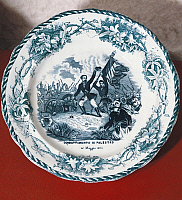 0295739 © Granger - Historical Picture ArchiveHISTORY.   Dish with scene of the Battle of Palestro, May 31, 1859, ceramic. Second War of Independence, Italy, 19th century. Full Credit: DEA / G. CIGOLINI / Granger, NYC -- All Rights Reserved.