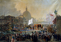 0295782 © Granger - Historical Picture ArchiveHISTORY.   Victor Emmanuel II arriving in Venice, by Christmas Gavagnin (born 1851). Second War of Independence, Italy, 19th century. Full Credit: DEA / G. NIMATALLAH / Granger, NYC -- All Rights Reserved.