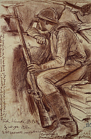 0296039 © Granger - Historical Picture ArchiveHISTORY.   Listening post, August 3, 1916, the soldier Ostroankh of the Grodno government, by Dmitry Stelletsky (1875-1947), drawing. World War I, Russia, 20th century. Full Credit: DEA / M. SEEMULLER / Granger, NYC -- All rights reserved.