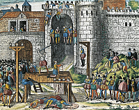 0296356 © Granger - Historical Picture ArchiveHISTORY.   Execution of the Amboise conspirators, March 25, 1560, engraving by Franz Hogenberg (1535-1590). Wars of Religion, France, 16th century. Full Credit: DEA / G. DAGLI ORTI / Granger, NYC -- All rights reserved.
