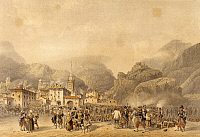 0296583 © Granger - Historical Picture ArchiveHISTORY.   French encampment in Susa, engraving. Second War of Independence, Italy, 19th century. Full Credit: DEA / G. CIGOLINI / Granger, NYC -- All rights reserved.