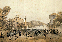 0296638 © Granger - Historical Picture ArchiveHISTORY.   Giuseppe Garibaldi occupying Varese, 1859. Second War of Independence, Italy, 19th century. Full Credit: DEA / A. DE GREGORIO / Granger, NYC -- All rights reserved.