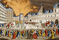 0296689 © Granger - Historical Picture ArchiveHISTORY.   Fireworks, June 1763, outside Paris City hall to mark the proclamation of peace, engraving by Chereaux. France, 18th century. Full Credit: DEA / G. DAGLI ORTI / Granger, NYC -- All Rights Reserved.