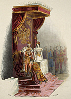 0296909 © Granger - Historical Picture ArchiveHISTORY.   Ferdinand V being installed on the throne. Austria, 19th century. Full Credit: DEA / A. DAGLI ORTI / Granger, NYC -- All Rights Reserved.