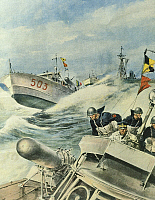 0297574 © Granger - Historical Picture ArchiveHISTORY.   Fast Italian navy motorboats patrolling an area of ??the Mediterranean Sea, September 12, 1943. By Achille Beltrame (1871-1945), illustration from La Domenica del Corriere. Full Credit: Copyright DEA / A. DAGLI ORTI / Granger, NYC -- All Rights Reserved.