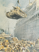 0297580 © Granger - Historical Picture ArchiveHISTORY.   Italian convoy arriving at its destination in Libya. Illustrator Achille Beltrame (1871-1945), from La Domenica del Corriere, 15th February 1942. Full Credit: Copyright DEA / A. DAGLI ORTI / Granger, NYC -- All rights reserved.