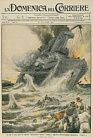 0297588 © Granger - Historical Picture ArchiveHISTORY.   The German cruiser SMS Emden destroyed by the Australian Navy cruiser HMAS Sydney. Illustrator Achille Beltrame (1871-1945), from La Domenica del Corriere, 22nd -29th November 1914. Full Credit: Copyright DEA PICTURE LIBRARY / Granger, NYC -- All Rights Reserved.