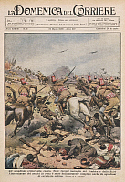 0297595 © Granger - Historical Picture ArchiveHISTORY.   Eritrean cavalry squadron charge, Italo-Ethiopian War (1935-36). Illustrator Achille Beltrame (1871-1945), from La Domenica del Corriere, 15th March 1936. Full Credit: Copyright DEA PICTURE LIBRARY / Granger, NYC -- All rights re