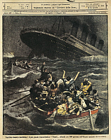 0297604 © Granger - Historical Picture ArchiveHISTORY.   Great Britain - 20th century- Sinking of passenger liner Titanic. Cover illustration from La Domenica del Corriere Sunday supplement to daily newspaper Il Corriere della Sera. 28th April 1912. Illustrator Achille Beltrame. Full Credit: Copyright DEA PICTURE LIBRARY / Granger, NYC -- All Rights Reserved.
