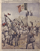 0297630 © Granger - Historical Picture ArchiveHISTORY.   Italo-Turkish or Libyan war (1911-1912) - Italian troops progressively conquer Cyrenaica. Cover illustration from La Domenica del Corriere, Sunday supplement to Italian daily newspaper Il Corriere della Sera, March 8, 1914. Illustrator Achille Beltrame. Full Credit: Copyright DEA / A. DAGLI ORTI / Granger, NYC -- All rights reserved. THIRD-PARTY C