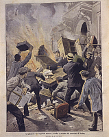 0297634 © Granger - Historical Picture ArchiveHISTORY.   France, 20th century - Uprisings in France, winemakers set Beziers Town Hall on fire. Cover illustration from La Domenica del Corriere, Sunday supplement to Italian daily newspaper Il Corriere della Sera, May 26, 1907. Illustrator Achille Beltrame. Full Credit: Copyright DEA / A. DAGLI ORTI / Granger, NYC -- All rights reserved.