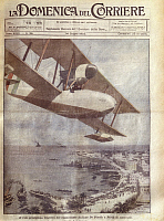 0297742 © Granger - Historical Picture ArchiveHISTORY.   History, 20th century - Italian flyer Francesco de Pinedo arrives at Perth. Cover illustration from La Domenica del Corriere, Sunday supplement to Italian daily newspaper Il Corriere della Sera, June 14, 1925. Illustrator Achille Beltrame. Full Credit: Copyright DEA / A. DAGLI ORTI / Granger, NYC -- All Rights Reserved.