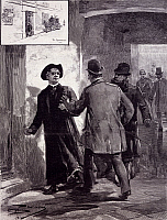 0297851 © Granger - Historical Picture ArchiveHISTORY.   Scandal of Banca Romana, Cuciniello Vincent, director of the Bank of Naples, being arrested as he was fleeing dressed as a priest, January 22, 1893, by Dante Paolucci, drawing. Italy, 19th century. Full Credit: DEA PICTURE LIBRARY / Granger, NYC -- All rights reserved.
