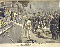 0297964 © Granger - Historical Picture ArchiveHISTORY.   Spanish-American War (1898) - Landing of Spanish prisoners at Key West. Print from Le Petit Journal. Full Credit: DEA / M. SEEMULLER / Granger, NYC -- All rights reserve