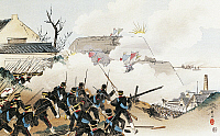 0297969 © Granger - Historical Picture ArchiveHISTORY.   The Japanese troops launching an attack on the fortifications of Port Arthur. First Sino-Japanese War, China, 19th century. Full Credit: DEA / G. DAGLI ORTI / Granger, NYC -- All Rights Reserved.