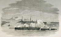 0297992 © Granger - Historical Picture ArchiveHISTORY.   The British fleet attacking the island of Chu-san, July 5, 1840, print. First Opium War, China, 19th century. Full Credit: DEA / G. DE VECCHI / Granger, NYC -- All right