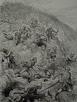 0298039 © Granger - Historical Picture ArchiveHISTORY.   British troops routed at the Battle of Majuba Hill, February 27, 1891, engraving. First Boer War, South Africa, 19th century. Full Credit: DEA / G. DE VECCHI / Granger, NYC -- All Rights Reserved.
