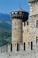 0298210 © Granger - Historical Picture ArchiveHISTORY.   Fenis Castle (Aosta), Valle d'Aosta. Italy, 14th century. Full Credit: DEA / N. CIRANI / Granger, NYC -- All Rights Reserved.