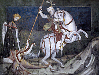 0298636 © Granger - Historical Picture ArchiveHISTORY.   St George killing the dragon, fresco by Jaquerio school (15th century), Fenis Castle (Aosta), 14th century, Valle d'Aosta. Italy. Full Credit: DEA / G. ROLI / Granger, NYC -- All Rights Reserved.
