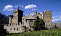0298639 © Granger - Historical Picture ArchiveHISTORY.   Fenis Castle (Aosta), Valle d'Aosta. Italy, 14th century. Full Credit: DEA PICTURE LIBRARY / Granger, NYC -- All Rights Reserved.