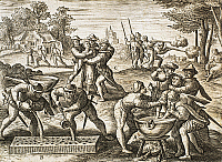 0298802 © Granger - Historical Picture ArchiveHISTORY.   Torture at the time of the Huguenots in France in the 16th-17th century engraving. Wars of Religion, France, 16th-17th century. Full Credit: DEA PICTURE LIBRARY / Granger, NYC -- All Rights Reserved.