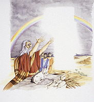 0298980 © Granger - Historical Picture ArchiveHISTORY.   Bible - Noah offers a lamb sacrifice to God after the flood. Drawing. Full Credit: DEA PICTURE LIBRARY / Granger, NYC -- All Rights Reserved.