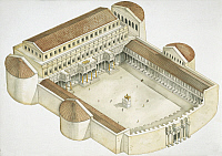 0299018 © Granger - Historical Picture ArchiveHISTORY.   Roman Civilization. Plan of the Trajan's Forum in Rome (107-112 A.D.). Artwork, color illustration. Full Credit: DEA PICTURE LIBRARY / Granger, NYC -- All rights reserve