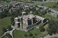 0300125 © Granger - Historical Picture ArchiveHISTORY.   Aerial view of the castle of Fenis in the Clavalite' Valley, Valle d'Aosta Region. Full Credit: DEA / G. GNEMMI / Granger, NYC -- All rights reserved.