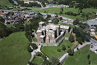 0300127 © Granger - Historical Picture ArchiveHISTORY.   Aerial view of the castle of Fenis in the Clavalite' Valley, Valle d'Aosta Region. Full Credit: DEA / G. GNEMMI / Granger, NYC -- All rights reserved.