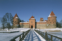 0300169 © Granger - Historical Picture ArchiveHISTORY.   Lithuania - Trakai. The castle and the frozen lake Galvé. Full Credit: DEA / W. BUSS / Granger, NYC -- All ri.