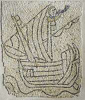 0300179 © Granger - Historical Picture ArchiveHISTORY.   Italy - Emilia Romagna region - Ravenna. Church of Saint John the Evangelist (5th century). Detail of the mosaic flooring representing a sailor on a ship during the 4th crusade (1202-1204). Full Credit: DEA / A. DAGLI ORTI / Granger, NYC -- All Rights Reserved.