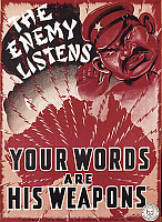0300186 © Granger - Historical Picture ArchiveILLUSTRATIONS & POSTERS.   Australia, 20th century, Second World War - The Enemy Listens, Your Words are His Weapons. Propaganda poster against Japanese espionage. Full Credit: DEA PICTURE LIBRARY / Granger, NYC -- All rights reserved.
