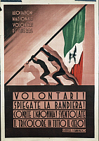 0300198 © Granger - Historical Picture ArchiveILLUSTRATIONS & POSTERS.   Italy, 20th century, First World War - Propaganda poster for the National Association of Volunteers of the War quoting a sentence by Gabriele D'Annunzio (Volontari! Spiegate la bandiera! Coprite l'ignominia! Sventolate il tricolore in tutto il cielo!). Full Credit: DEA / A. DAGLI ORTI / Granger, NYC -- All rights reserved. THIRD-PA
