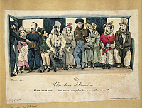 0300205 © Granger - Historical Picture ArchiveILLUSTRATIONS & POSTERS.   France, 19th century. People on a bus seat (Un banc d'Omnibus. Trois, six et trois.. huit encore une place! Serrez-vous Messieurs et Dames). Engraving by Fournier, 1829. Caricature. Full Credit: DEA / G. DAGLI ORTI / Granger, NYC -- All rights reserved.