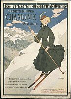 0300287 © Granger - Historical Picture ArchiveILLUSTRATIONS & POSTERS.   Posters, France, 20th century. Sports d'hiver Chamonix Mont Blanc. Winter sports, illustration by Abel Faivre (1867-1945). Full Credit: DEA PICTURE LIBRARY / Granger, NYC -- All rights reserved.