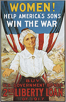 0300297 © Granger - Historical Picture ArchiveILLUSTRATIONS & POSTERS.   United States of America, 20th century, First World War - Women! Help America's sons win the war. Buy U.S. Government Bonds, 2nd Liberty Loan of 1917. War loan poster, illustration by R. H. Porteous. Full Credit: DEA / G. NIMATALLAH / Granger, NYC -- All rights reserved.