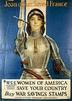 0300298 © Granger - Historical Picture ArchiveILLUSTRATIONS & POSTERS.   United States of America, 20th century, First World War - Joan of Arc saved France. Women of America, save your country. Buy War Savings Stamps. Advertisment for helping fund participation, illustration by Haskell Coffin, 1918. Full Credit: DEA / G. COSTA / Granger, NYC -- All Rights Reserved.
