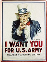 0300299 © Granger - Historical Picture ArchiveILLUSTRATIONS & POSTERS.   United States of America, 20th century, First World War - I want you for U.S. Army. Recruitment poster, illustration by James Montgomery Flagg (1877-1960), 1917. Full Credit: DEA / G. NIMATALLAH / Granger, NYC -- All Rights Reserved.