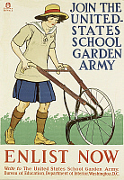 0300301 © Granger - Historical Picture ArchiveILLUSTRATIONS & POSTERS.   United States of America, 20th century, First World War - Join the United States school garden army. Enlist now. Propaganda poster, illustration by Edward Penfield (1866-1925), 1918. Full Credit: DEA / G. NIMATALLAH / Granger, NYC -- All rights reserved.