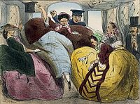 0300330 © Granger - Historical Picture ArchiveILLUSTRATIONS & POSTERS.   Fashion, France, 19th century. Caricature of a first class train car (Modes pour rire). Full Credit: DEA / G. DAGLI ORTI / Granger, NYC -- All rights res