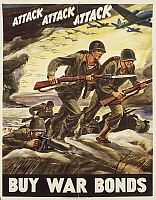 0300441 © Granger - Historical Picture ArchiveILLUSTRATIONS & POSTERS.   United States of America, 20th century, Second World War - Attack Attack Attack Buy War Bonds. Propaganda poster signed by Ferdinand Warren, 1942. Full Credit: DEA / G. DAGLI ORTI / Granger, NYC -- All rights rese