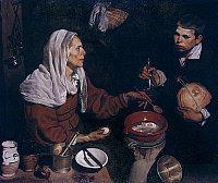 0300603 © Granger - Historical Picture ArchiveFINE ART.   Old woman frying eggs, 1618, by Diego Velazquez (1599-1660), oil on canvas, 100x119 cm. Full Credit: DEA PICTURE LIBRARY / Granger, NYC -- All rights reserved.