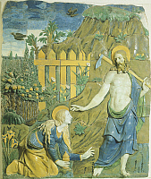 0300894 © Granger - Historical Picture ArchiveFINE ART.   Christ the gardener, detail from Noli Me Tangere (don't touch me), by Giovanni della Robbia (1469-1529), glazed earthenware. Full Credit: DEA / G. NIMATALLAH / Granger, NYC -- All Rights Reserved.