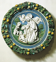 0300903 © Granger - Historical Picture ArchiveFINE ART.   Nativity or Adoration of Baby Jesus, from the workshop of Andrea della Robbia (1435-1525), glazed terracotta, diameter 105 cm. Full Credit: DEA / G. NIMATALLAH / Granger, NYC -- All Rights Reserved.