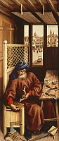 0300951 © Granger - Historical Picture ArchiveFINE ART.   St Joseph the carpenter, right panel of the Annunciation of Merode Triptych, ca 1425, by the Master of Flemalle (ca 1420-1444), oil on panel, 64.5x28 cm. Full Credit: DEA PICTURE LIBRARY / Granger, NYC -- All rights reserved.
