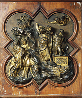 0300965 © Granger - Historical Picture ArchiveFINE ART.   The sacrifice of Isaac, 1401, by Lorenzo Ghiberti (1378-1455), bronze tile for the competition for the portal of the Baptistery in Florence. Full Credit: DEA / G. NIMATALLAH / Granger, NYC -- All rights reserved.